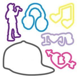 "Buy Justin Bieber Sillybandz Blue Headphones, Yellow Heart Music Note, Purple ""I Heart JB,"" Pink Bieber Heart, Purple Justin Singing, and Gray Justin's Hat Silicone Bracelets Crazy Bands"