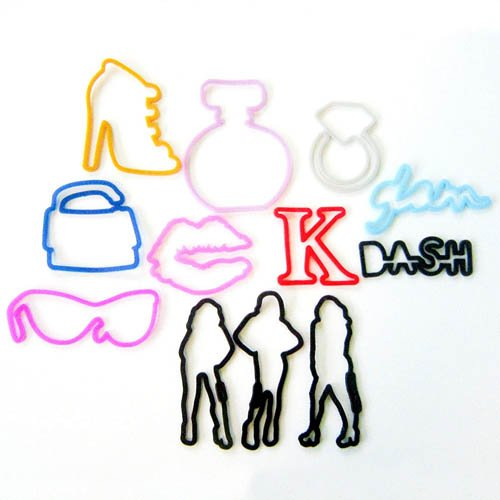 Buy Kardashian Sillybandz Sillybands Kim, Kourtney, Khloe, K, Glam, Purse, Diamond Ring, High Heel, Kiss Lips, Sunglasses, D-A-S-H, and Perfume Bottle Silicone Bracelets Crazy Bands