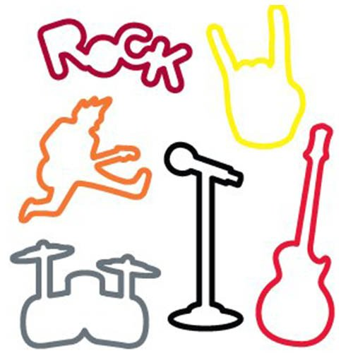 Buy Rock Sillybandz Sillybands Mic Stand, a Rocker, Rock Handz, Guitar, Drums, and the word ROCK Silicone Bracelets Crazy Bands