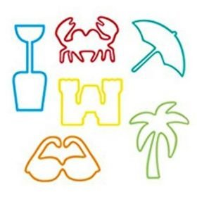 Buy Beach Sillybandz Sillybands Bottle, a Crab, a Palm Tree, a Sail Boat, a Surfer, and a Seashell. Silicone Bracelets Crazy Bands