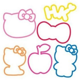 "Buy Hello Kitty Cat Sillybandz Sillybands Hello Kitty Head, Hello Kitty Standing, Bow, Hello Kitty Sitting, Apple, and ""HK."" Cat Head, Kat Silicone Bracelets Crazy Bands"