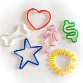 Buy Fun Pack Sillybandz Sillybands blue stars, red hearts, green dollar signs, white dog bones, yellow sunshines, and pink girls Silicone Bracelets Crazy Bands