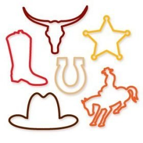 Buy Western Cowgirl Cowboy Sillybandz Sillybands Sheriff Badge, Horseshoe, Bronco, Cowboy Boot, Longhorn, and of course, Cowboy Hat Silicone Bracelets Crazy Bands